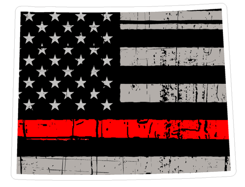 Thin Red line decal - State of Wyoming Grey Tattered Flag - Various Sizes