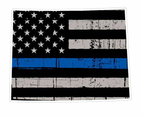 Thin Blue line decal - State of Wyoming Grey Tattered Flag - Various Sizes