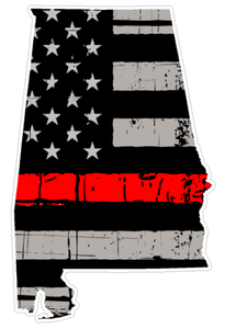 Thin Red line decal - State of Alabama Grey tattered Flag Decal - Various Sizes