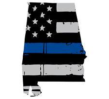 Thin Blue line decal - State of Alabama Grey Tattered Flag Decal - Various Sizes