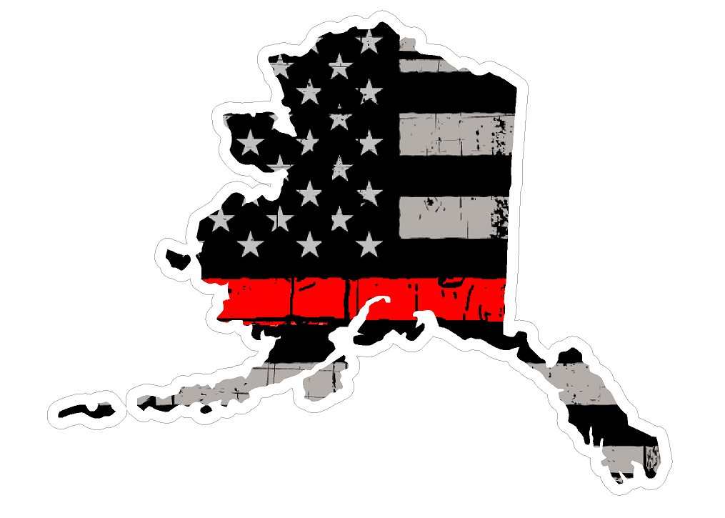 Thin Red line decal - State of Alaska Thin Blue Line Grey tattered Flag Decal - Various Sizes