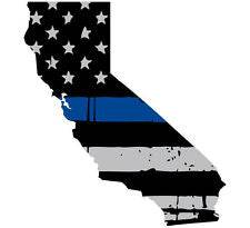 Thin Blue line decal - State of California Grey Tattered Flag Decal - Various Sizes