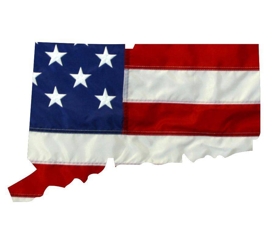 State of Connecticut Realistic American Flag Window Decal - Various Sizes