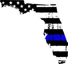 Thin Blue line decal - State of Florida Tattered Flag Decal - Various Sizes