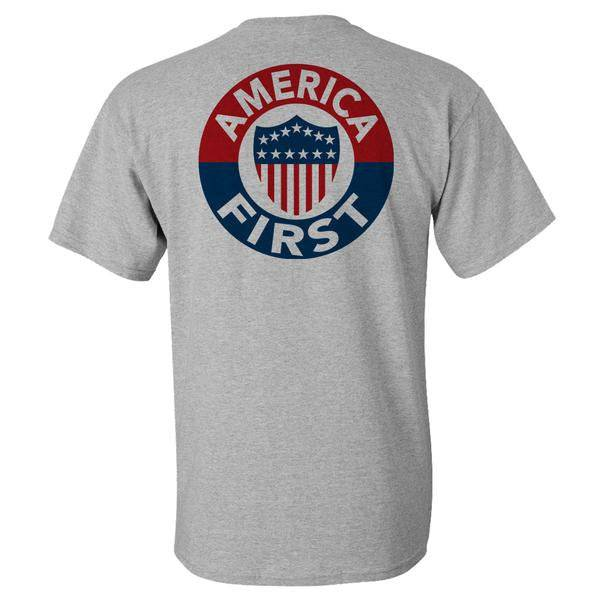 AMERICA FIRST! - ATHLETIC GREY T-SHIRT 100% MaDE iN USA S M L XL 2XL 3XL 4XL 5XL