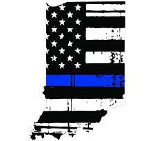 Thin Blue line decal - State of Indiana Tattered Flag Decal - Various Sizes