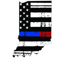 Thin Blue Red line decal - State of Indiana tattered Flag Decal - Various Sizes