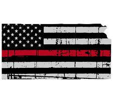 Thin Red line decal - State of Kansas Grey Tattered Flag - Various Sizes