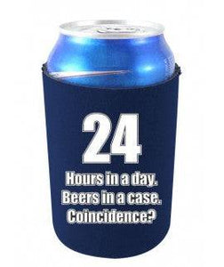 24 HOURS IN A DAY BEERS IN A CASE FUNNY CAN COOLIE - Navy Blue