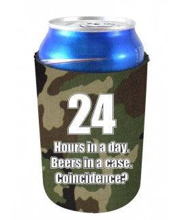 24 HOURS IN A DAY BEERS IN A CASE FUNNY CAN COOLIE - Camo