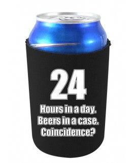 24 HOURS IN A DAY BEERS IN A CASE FUNNY CAN COOLIE - Black