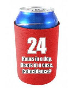 24 HOURS IN A DAY BEERS IN A CASE FUNNY CAN COOLIE - Red