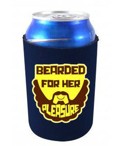 BEARDED FOR HER PLEASURE FUNNY CAN COOLIE - Navy Blue