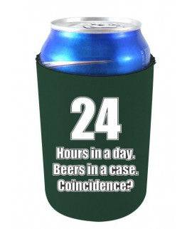 24 HOURS IN A DAY BEERS IN A CASE FUNNY CAN COOLIE - Hunter Green