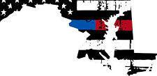 Thin Blue Red line decal - State of Maryland tattered Flag Decal - Various Sizes