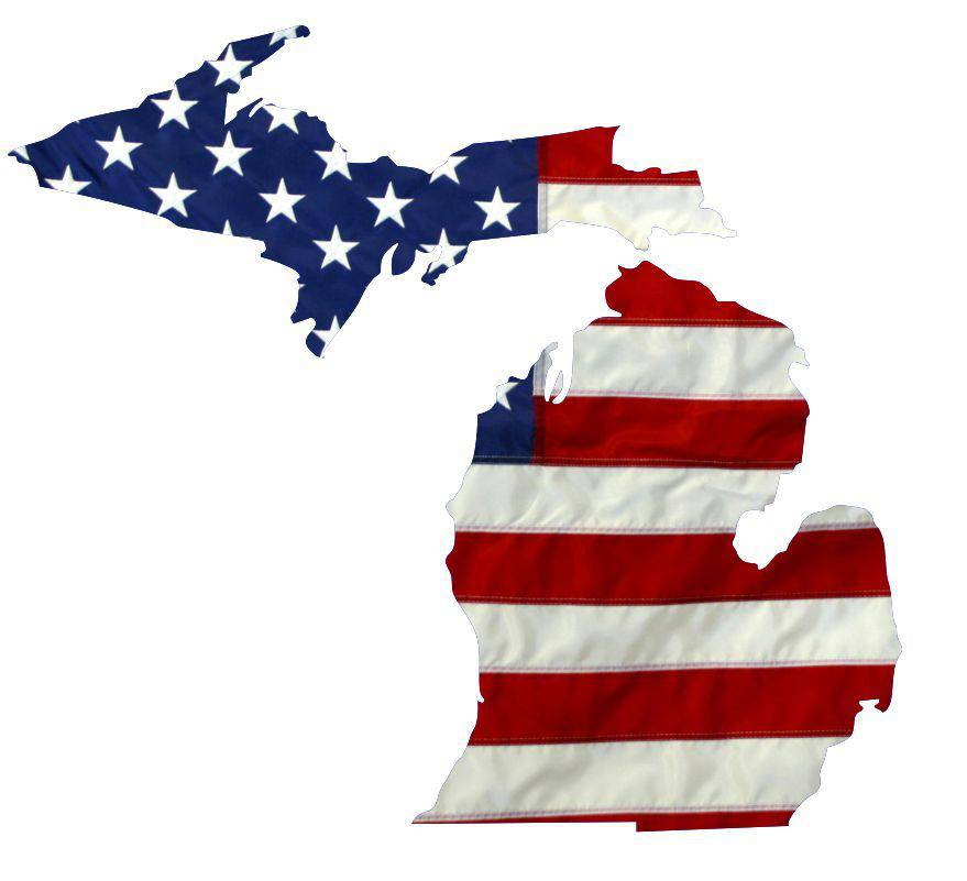 State of Michigan Realistic American Flag Window Decal - Various Sizes
