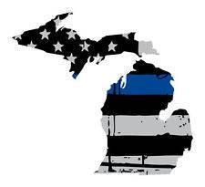 Thin Blue line decal - State of Michigan Grey Tattered Flag Decal - Various Sizes