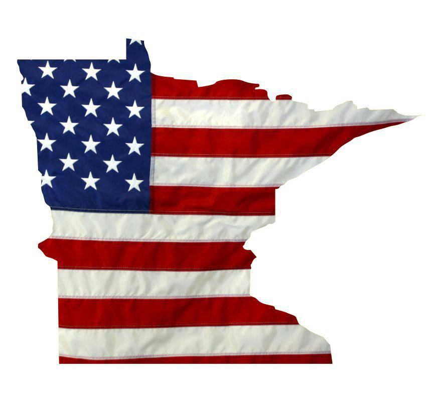 State of Minnesota Realistic American Flag Window Decal - Various Sizes