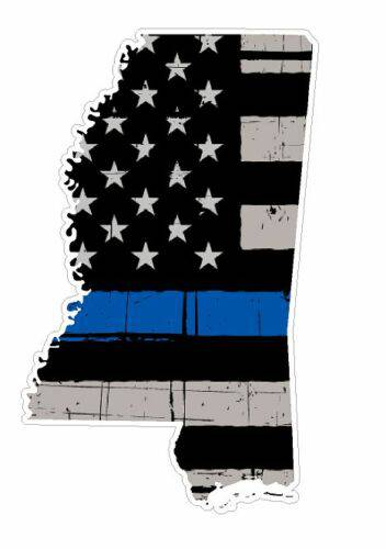 Thin Blue line decal - State of Mississippi Grey Tattered Flag Decal - Various Sizes