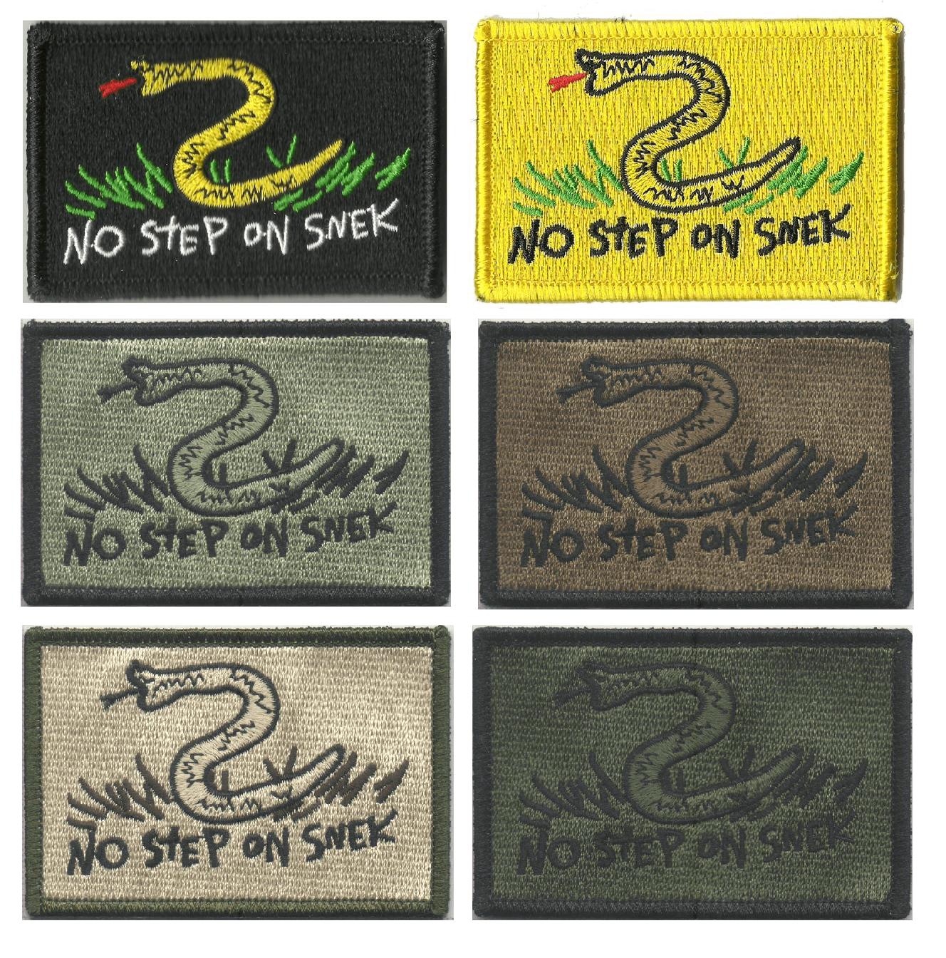 """BuckUp Tactical Morale Patch Hook NO STEP ON SNEK 2/""""X3/"""" Tactical Patches"""
