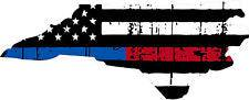 Thin Blue Red line decal - State of North Carolina tattered Flag Decal - Various Sizes