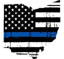 Thin Blue line decal - State of Ohio Tattered Flag Decal - Various Sizes