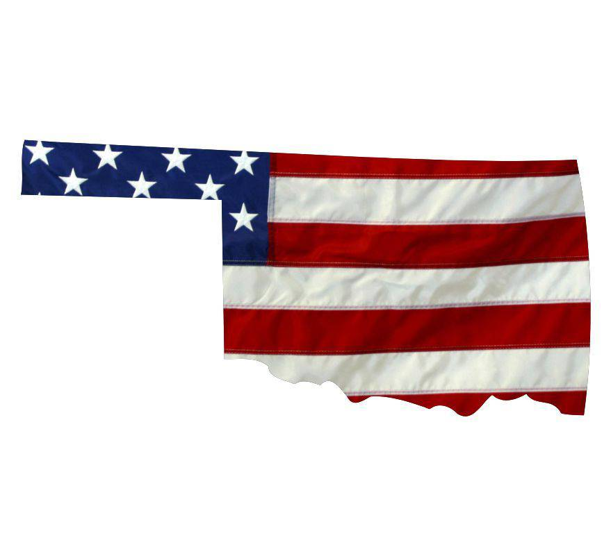 State of Oklahoma Realistic American Flag Window Decal - Various Sizes