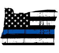 Thin Blue line decal - State of Oregon Tattered Flag Decal - Various Sizes