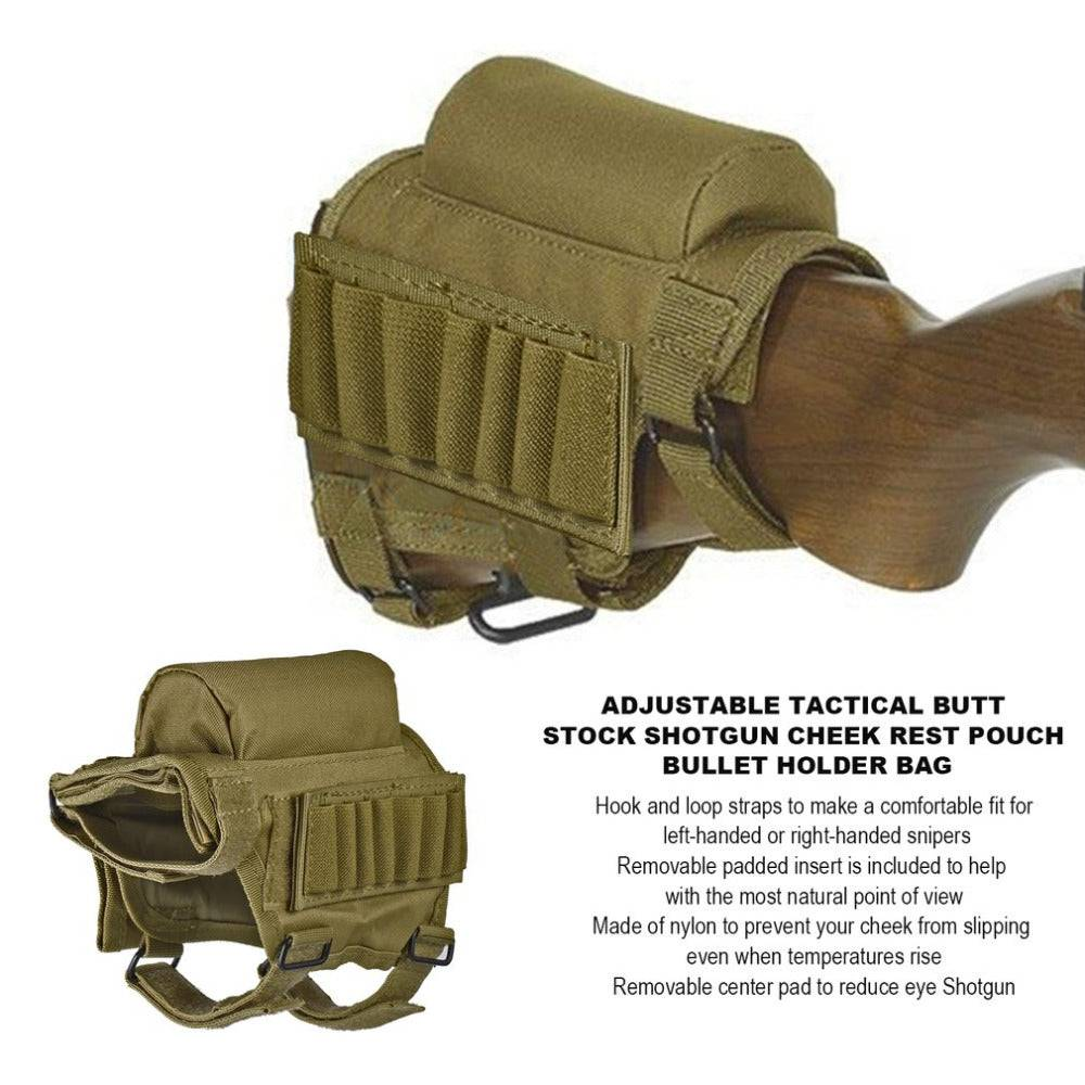 Hot Portable Adjustable Nylon Tactical Butt Stock Shotgun Cheek Rest Pouch Bullet Holder Bag Outdoor Hunting Gun Buttstock Bag
