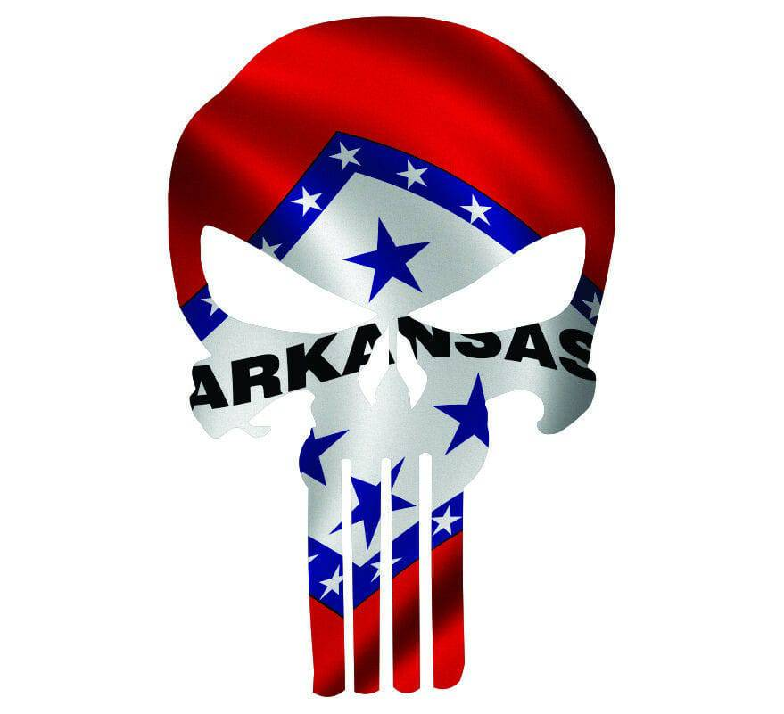 Punisher Skull Arkansas Flag Window Decal Sticker Graphic - Multiple Sizes