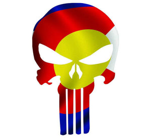 Punisher Skull Colorado Flag Window Decal Sticker Graphic - Multiple Sizes