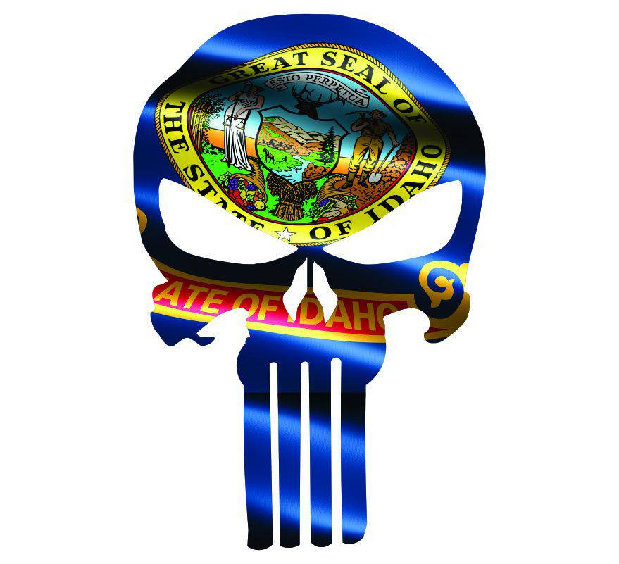 Punisher Skull Idaho Flag Window Decal Sticker Graphic - Multiple Sizes