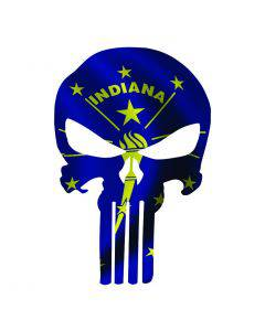 Punisher Skull Indiana Flag Window Decal Sticker Graphic - Multiple Sizes