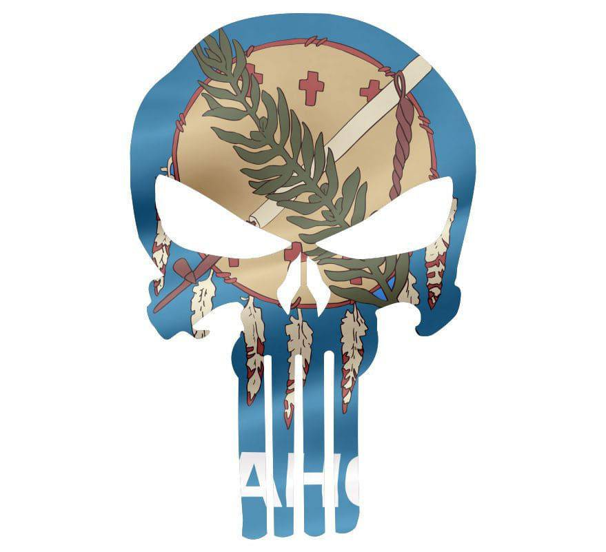 Punisher Skull Oklahoma Flag Window Decal Sticker Graphic - Multiple Sizes