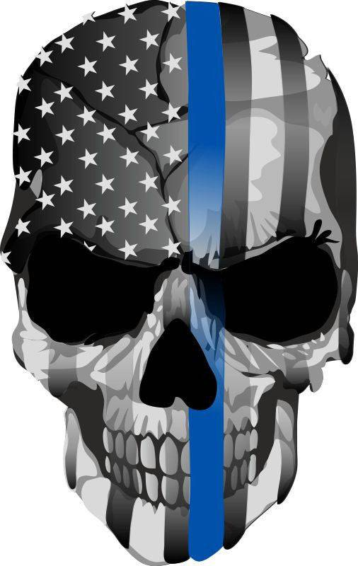 Thin Blue Line decal - Punisher Skull Blue Line USA Version 2 - Various Sizes
