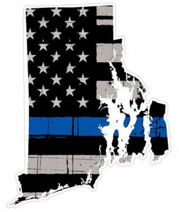 Thin Blue line decal - State of Rhode Island Thin Blue Line Grey Tattered Flag - Various Sizes