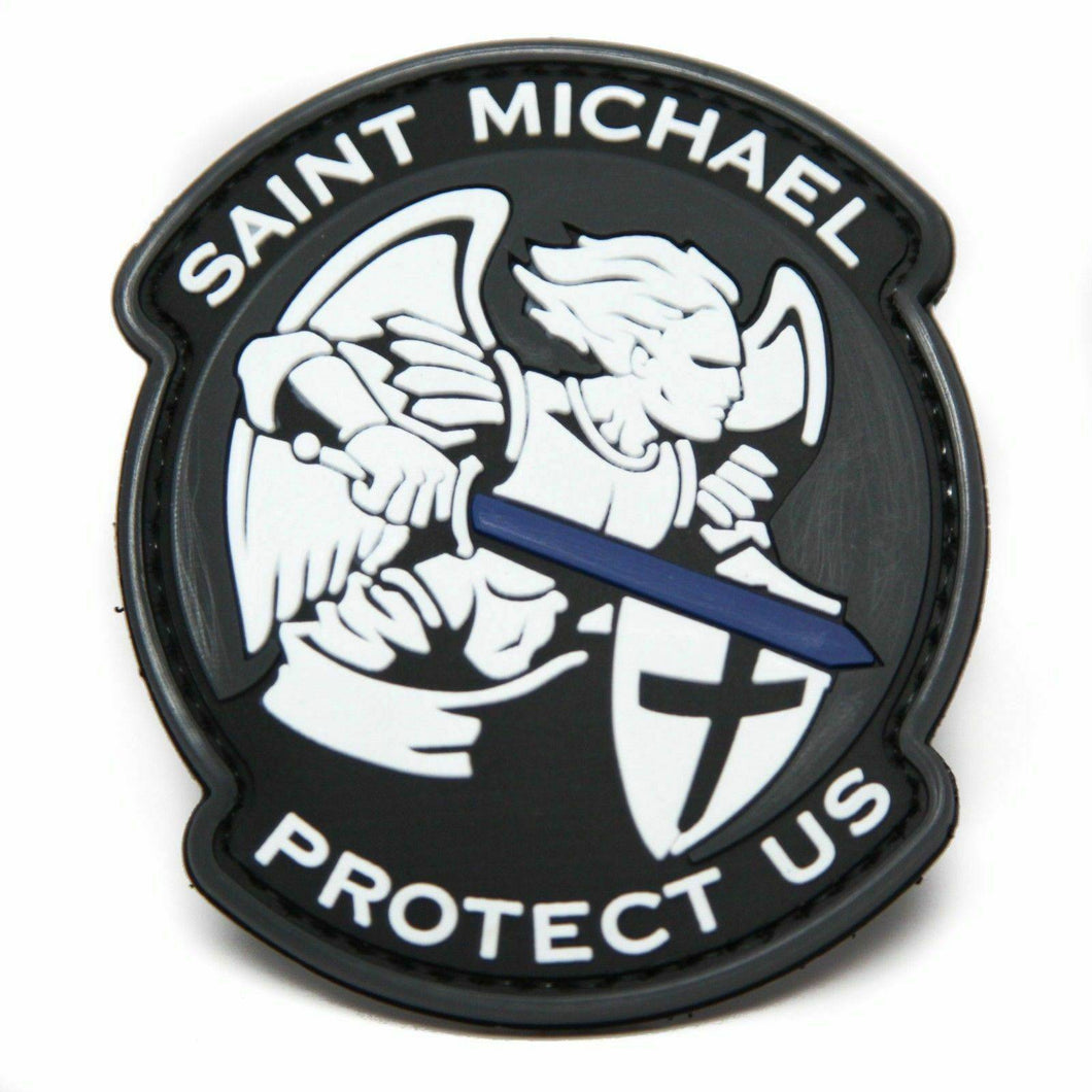 BuckUp Tactical Morale Patch Hook PVC St Michael Saint Michael God Jesus Protect US Thin Blue Line Sword