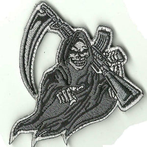 "VELCRO® Brand Hook Backing Grim Reaper Rifle Funny Morale 3"" Sized patch"