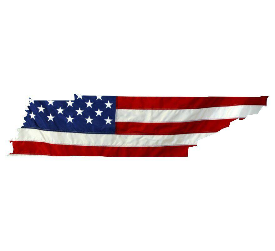 State of Tennessee Realistic American Flag Window Decal - Various Sizes