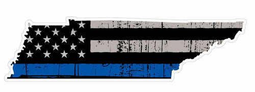 Thin Blue line decal - State of Tennessee Grey Tattered Flag Decal - Various Sizes