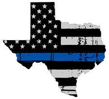 Thin Blue line decal - State of Texas Grey Tattered Flag Decal - Various Sizes