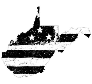 West Virginia Black White Tattered Flag Decal - Various Sizes