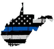 Thin Blue line decal - State of West Virginia Grey Tattered Flag Decal - Various Sizes