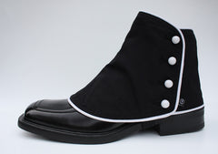 Men's Black & White classic spats (one pair for shoe size 9-12.5)