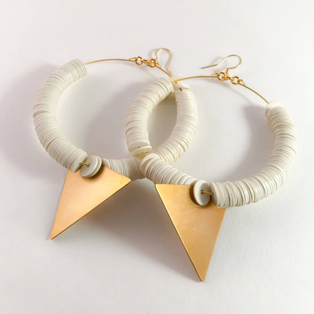 African hoop earrings - vinyl disc beads with brass triangle pendant, gold-filled ear wire.