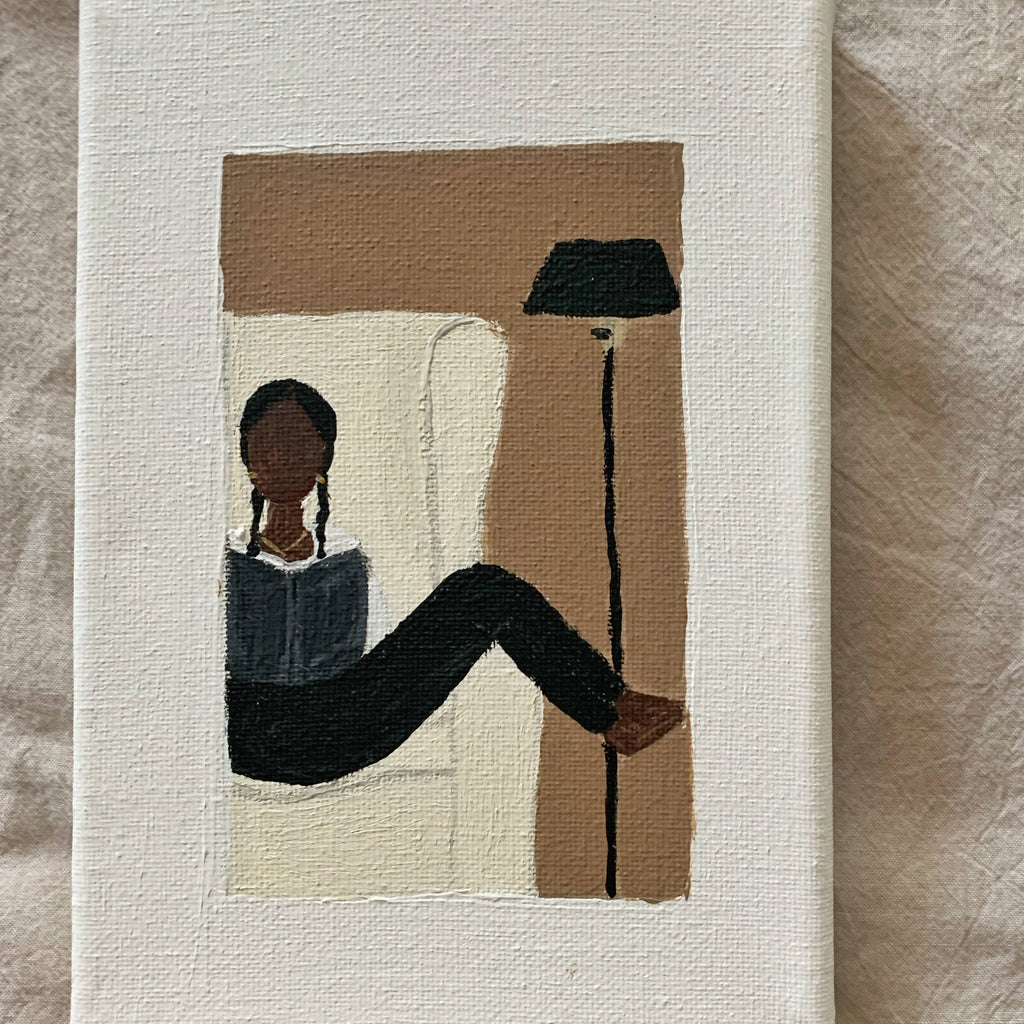 "Black girl reading in chair. Original acrylic painting on stretched canvas 5""x7""."