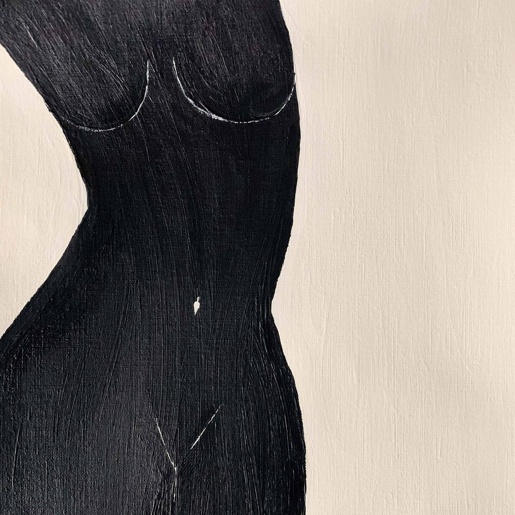 "Female body figure original painting. Acrylic on heavy paper 9""x12""."