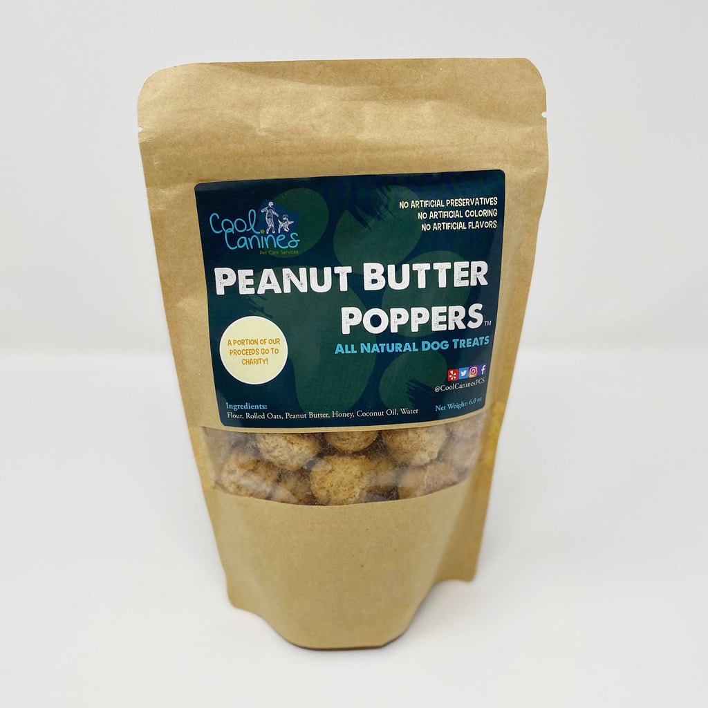 All natural gluten free peanut Butter Poppers dog treats