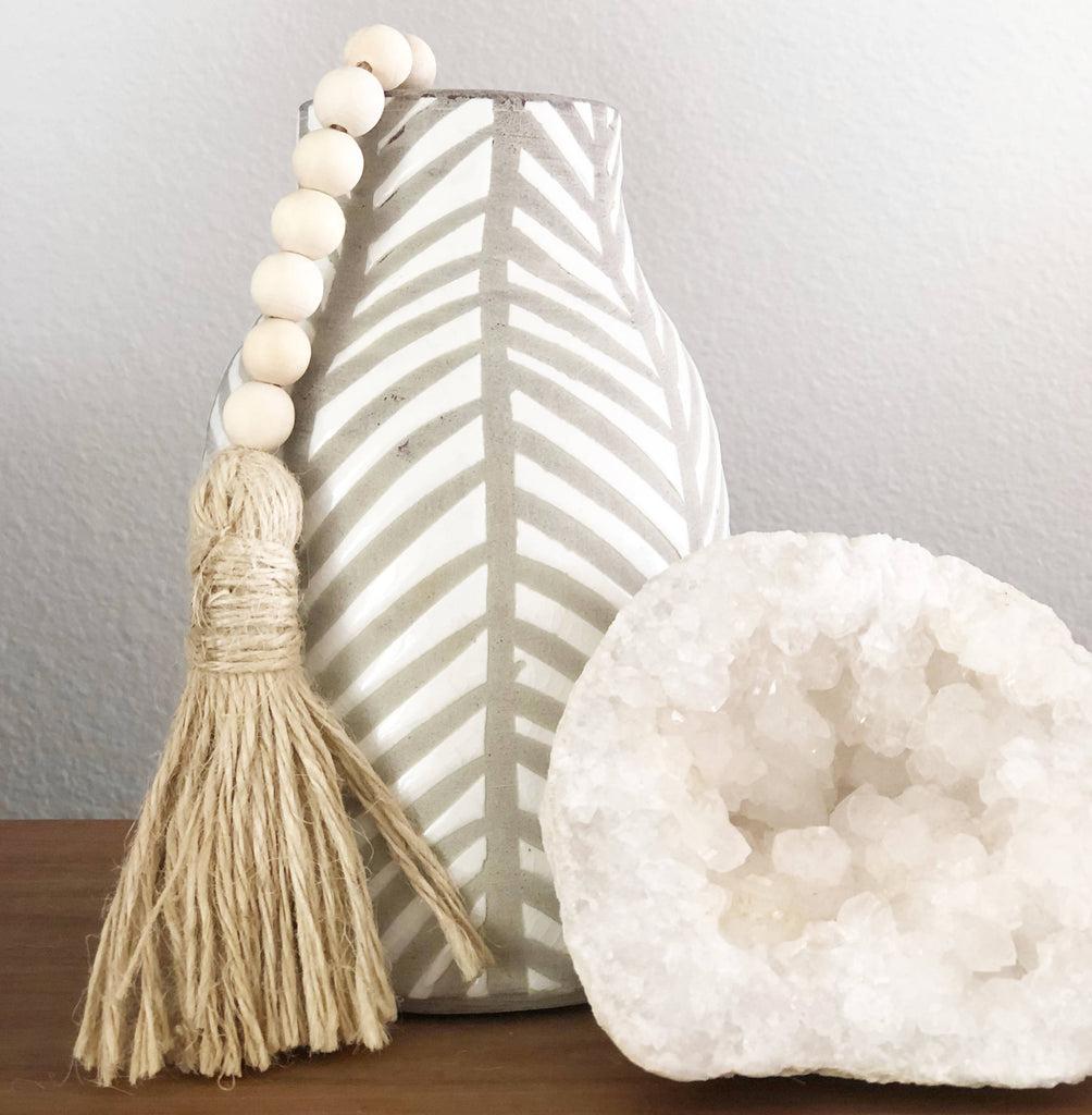 Natural wood bead tassel, perfect addition to add an organic natural texture to any room.