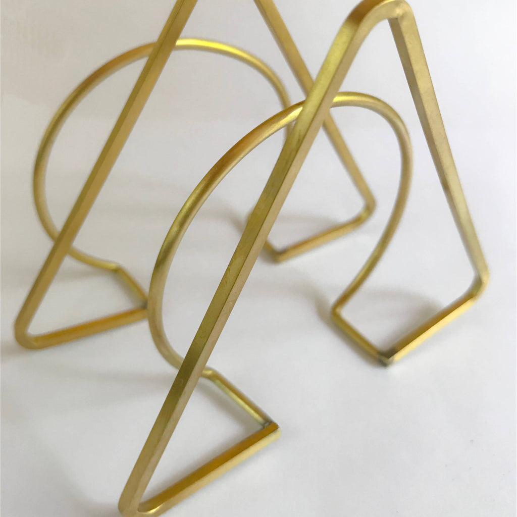 Two solid brass abstract cuffs